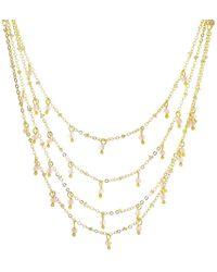 Panacea Crystal Drops Triple Row Necklace - Metallic