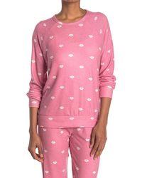 Pj Salvage Print Long Sleeve Sweatshirt - Pink