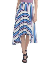 Astr Corrine Directional Stripe Handkerchief Hem Skirt - Blue