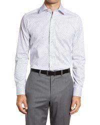 David Donahue Slim Fit Paisley Cotton Button-up Dress Shirt - Multicolor