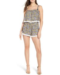 35ac5a9dbfc1 Lyst - Cupcakes And Cashmere Althea Tie Detail Dot Romper in Blue