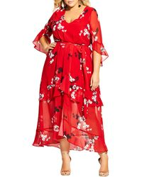 City Chic Vixen Floral Ruffle Tiered Maxi Dress