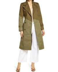Nordstrom Pieced Colorblock Trench Coat - Green