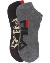 Fila Animal Print No Show Socks - Pack Of 2 - Black