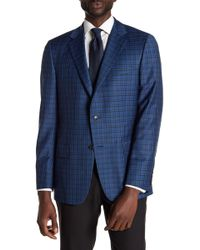 Hickey Freeman - Blue Glenplaid Two Button Notch Lapel Wool Sport Coat - Lyst