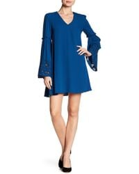 Laundry by Shelli Segal - Embroidered Bell Sleeve Dress - Lyst