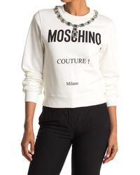 Moschino Necklace Print Graphic Sweatshirt - White