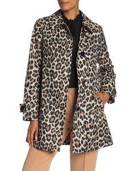 Kate Spade Leopard Print Trench Coat - Black