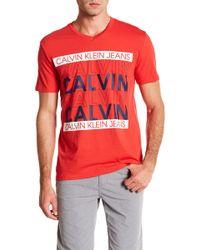 Calvin Klein Jeans - Calvin Repeat V-neck Tee - Lyst