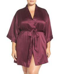 Black Bow 'gem' Satin Robe (plus Size) - Multicolour