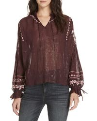 Dolan Lily Embroidered Peasant Top - Brown