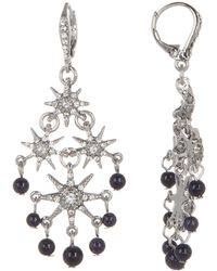 Jenny Packham - Glass Crystal Embellished Star With Beading Chandelier Earrings - Lyst