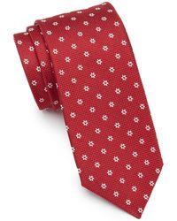 Ben Sherman Keene Neat Floral & Grid Silk Tie - Red