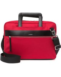 Lodis Kate Leather Trimmed Nylon Rfid Laptop Bag - Red