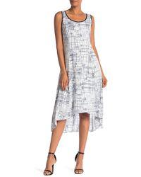 Jones New York Sleeveless Printed Linen High-low Hem Dress - White