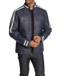 Xray Jeans Topstitched Faux Leather Jacket - Blue