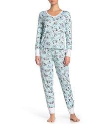 Jane & Bleecker New York Printed Shirt & Pants 2-piece Pajama Set - Blue