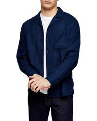 TOPMAN Long Sleeve Button-up Camp Shirt - Blue