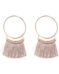 Shashi - Sandra Fringe Trim Hammered Hoop Earrings - Lyst