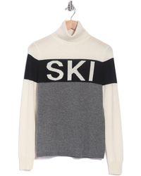 360cashmere Eva Cashmere Colorblock Ski Turtleneck Sweater - Gray