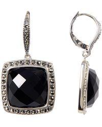 Judith Jack - Sterling Silver Priness Crystal & Halo Set Marcasite Drop Earrings - Lyst