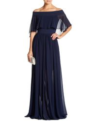 Dress the Population - Violet Off The Shoulder Chiffon Gown - Lyst