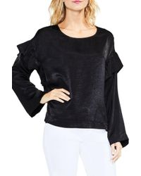 Two By Vince Camuto - Ruffle Sleeve Velvet Top - Lyst