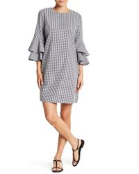 Beach Lunch Lounge - Delphina 3/4 Ruffle Sleeve Gingham Print Dress - Lyst