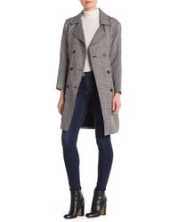 Love Tree Plaid Double Breasted Trench Coat - Gray