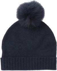 Skull Cashmere - Julissa Cashmere Genuine Fox Fur Pompom Beanie - Lyst