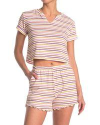 Lush Stripe Notched Collar Shirt - Multicolor