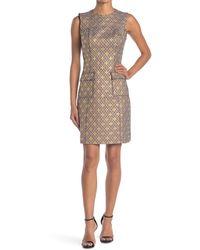 Elie Tahari Jaelyn Jacquard Patch Pocket Dress - Natural