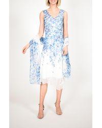 Komarov Asymmetrical Hem Charmeuse Dress With Shawl - Blue