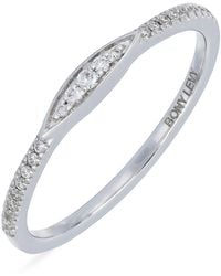 Bony Levy - 18k White Gold Pave Diamond Stackable Ring - 0.09 Ctw - Lyst