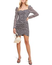 Astr Floral Ruched Long Sleeve Minidress - Multicolor