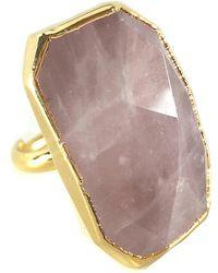 Charlene K 24k Yellow Gold Plated Sterling Silver Rose Quartz Statement Ring - Pink