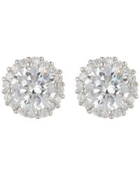 Adornia Sterling Silver Swarovski Crystal Halo Stud Earrings - Metallic