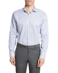 Calibrate Trim Fit Geometric Dress Shirt - Blue