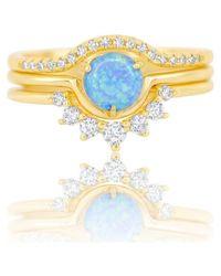 Melinda Maria Melissa Blue Opal & Cz Stacking Ring Set - Metallic