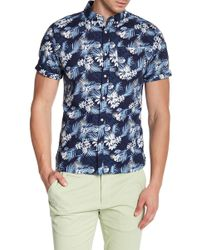 Knowledge Cotton Apparel - Short Sleeve Print Woven Shirt - Lyst