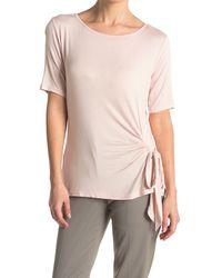 Catherine Malandrino Elbow Sleeve Side Tie Top - Pink
