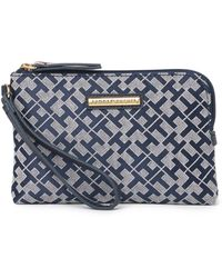 Tommy Hilfiger Logo Wristlet Pouch In Navy/white At Nordstrom Rack - Blue
