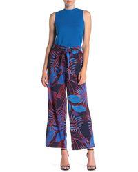Eci Palm Print High Rise Pants - Blue