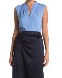 Elie Tahari Rosie Silk V-neck Blouse - Blue