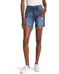 Joe's Jeans Distressed Fray Hem Bermuda Shorts - Blue