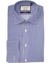 Thomas Pink Grant Striped Classic Fit Dress Shirt - Blue