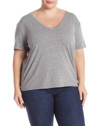 BP. V-neck Short Sleeve Tee (plus Size) - Gray