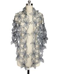 Saachi - Grey Floral Cutout Silk Wrap - Lyst