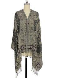Saachi - Black Embellished Border Wool & Silk Blend Wrap - Lyst