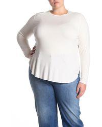 Halogen Long Sleeve Shirttail Hem T-shirt - White